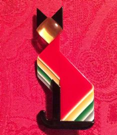 Lea Stein Art Deco Style Cat Brooch - Colourful Cubist Cat Brooch (Sold)